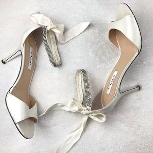 Nina ivory satin ribbon jeweled wrap around sandal